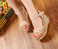 Wholesale Shoes Thick Crust Fish Head - Wholesale-Shoes For Girls Sale 2015 New Slope With Roman Sandals Summer Bohemian Fashion Muffin Thick Crust Fish Head High-heeled Shoes