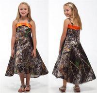 Wholesale Ruffled Junior Flower Girls Dress - 2016 Camo Flower Girl Dresses Realtree Camouflage Children Princess Dresses A Line Spaghetti Ankle-Length Junior Bridesmaid Gowns BA0557