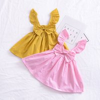 Wholesale Dress Girl Winter Summer - Everweekend Girls Ins Bow Ruffles Summer Bow Party Dress Fly Sleeve Candy Pink Yellow Color Toddler Baby Fashion Dress