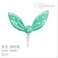 Wholesale Alloy Dust Plugs - Wholesale-Fashion Cute rabbit ears Mobile dust plugs T7055