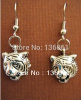 Wholesale Tiger Head Pendants Wholesale - New Fashion 50Pair Vintage Silvers TIGER Head Charms Pendants Drop Earrings DIY Jewelry Handcrafted Free Shipping Girls Bijoux P766