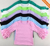 Wholesale Branded Summer Kids Wear - Hot Sale Kids Wear Harem tops Baby ruffle shirts girls Ruffle outfit long sleeves ins tops Girls Ruffle tutu tops 1-8Y