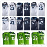 Andrew Wiggins Jerseys Jerseys 22 Men 32 Karl-Anthony Towns 23 Jimmy Butler 2018 Pullover di pallacanestro Blu navy Bianco Verde All Stitched