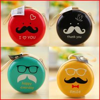 Wholesale Mustache Earphones - Wholesale-Creative Cartoon Mustache Circle Wallet Iron Beard Mini Portable Headphones Earphone Package Keys Bags Box Coin Purses