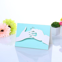 Wholesale Wedding Invitation Sky Blue - Floding DIY Wedding Invitation Light Sky Blue Ring Wedding Cards High Quality Free Shipping 2016 Customize Christmas Card