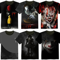 Wholesale horror shirts - 2017 New movie IT Pennywise Clown Stephen King 1990 2017 Horror Movie T-Shirt COSPLAY Tee