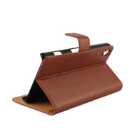 Wholesale Genuine Leather L39h - GENUINE Wallet Credit Card Stand Leather Case For Sony Xperia Z l36h Z1 l39h Z2 Z3 Z4 Z5 Z5 COMPACT Xperia X XA XP 1-10PC LOT