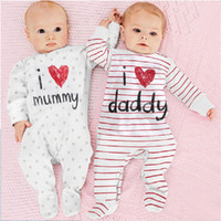 Wholesale I Love Daddy Boy - 100% Cotton Baby Boys Girls Long Rompers I Love Daddy Mummy Footcover Stripe One-Piece Pajamas Overall Shirts Tights
