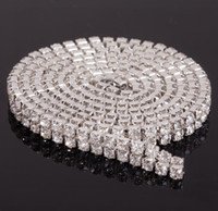 Wholesale Crystal Ss18 - MIC 2Row Clear Crystal Rhinestone Trims Close Chain Silver ss18 x 1 yard Wedding Decorations 020564