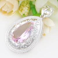 Wholesale Fire Topaz - Best Wholesle 4 Pcs Perfect Fire Drop Shaped Pink Topaz Crystal Gems 925 Sterling Silver USA Israel Wedding Engagement Pendants Weddings