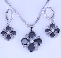 Wholesale Wedding Bags China - Excellent Black Onyx White Cubic Zirconia Flower Shaped Silver Necklace Pendant Hoop Earrings Jewelry Sets Free Gift Bag X0350