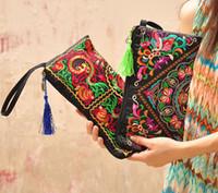 Wholesale Crochet Mobile - National Style Women Clutch Purses Bag Contrast Color Embroidery Handbag Wrist Strap Elegant Small Mini Mobile Phone Bag Wallet for Women