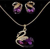 Wholesale Purple Crystal Swan Necklace - Elegant Design Creative 18K Gold Plated Austrian Crystal Swan Pendant Necklace&Earrings Set Vogue Jewelry Sets For Women