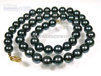 "Wholesale Black Peacock Pearls - Wholesale - New 19"" 8-9mm AAA+ peacock green black akoya pearl necklace 14K"