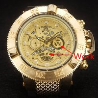 Wholesale pin rings - Invicta Men Ring Rotary Watch AAA Rubber Luxury Quartz 6 Pointer Work Full Functional Stainless steel Super Big Gold Watch