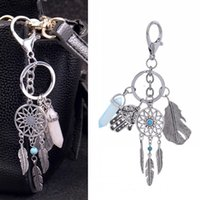 Dream Catcher Keyring Bag Charm Fashion Prata Boho Jóias Leaf Hexagon Column Pendant Keychain para Mulheres 2017 Free DHL D302S