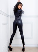Wholesale dresses leather look - Black Women Faux Leather Wet Look PVC Catsuit Ladies Girl Fancy Dress Jumpsuit Exotic Clubwear