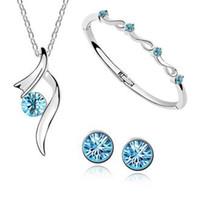 Wholesale White Gold Pendant Light - Fashion 18K gold plated austrian crystal starshine Necklaces Pendants+earring+bracelet Jewelry Sets G449