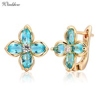 Atacado 2016 New Marquise Cut Sky Light Blue Flower Quatro Petal Clover Huggie Hoop Brincos para mulheres Yellow Gold Color Jewelry