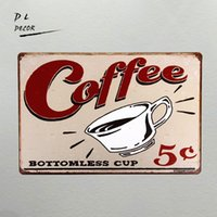 DL-Kaffee Bottomless 5 Cent Metall Schild, Küche Dekor, Motivations-Dekor, Home Decor Kaffee Vintage Wandaufkleber