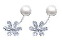 sterling sonnenblumen schmuck großhandel-925 Sterling Silber Ohrstecker Modeschmuck Sonnenblume Zirkon Diamant Kristall 6mm Perle Ohrring für Frauen Mädchen
