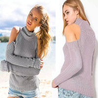 Wholesale strapless sweaters - Wholesale- 2015 Women's Sexy Strapless Turtleneck Knitted Sweater Pullover Long Sleeve Fashion Coarse Wool Christmas Sweaters