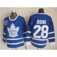 2015 Nouveau Maple Leafs # 28 Tie Domi Bleu 75e Anniversaire Hockey sur glace Maillots Hockey Haute Qualité Hockey Jersey Marque broderie Hockey Wears