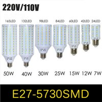 Wholesale India Price - Price in India 1Pcs E27 E14 Base 5730 5630 SMD LED Corn Bulb AC220V AC110V 7W 12W 15W 25W 30W 40W 50W High Luminous Spotlight LED lamp light