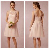 Compra Vestido Corto Plisado Rosa-2017 una línea vestidos de dama de honor  Tulle se 8b430d026ce8
