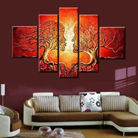 Wholesale Tree Artist Oil Paintings - Handpainted 5Pcs Paintings From Artist Directly Modern Abstract Tree lover Oil Painting On Canvas Wall painting for bedroom Art of love