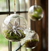 Wholesale Crystal Plant Pot - 6PCS set Dia 8cm or 10cm crystal glass hanging tea light holder,wedding candlestick,wedding decor,indoor planter,home decor