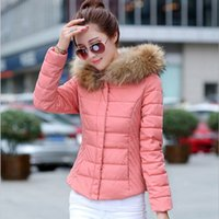 Wholesale Thin Down Coats For Women - New Arrival Women Winter Down Jacket Coats Fur Collar Slim Plus Size Short Thin Woman Cotton Padded Outdoor Jackets Parkas Coat for Womens