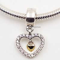 Wholesale 925 Sterling Silver K Real Gold Forever in My Heart Dangle Charm Bead Fits European Pandora Jewelry Bracelets Necklaces Pendants
