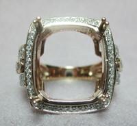 Wholesale Emerald Cut Semi Mounts - Free Shipping Emerald cut 10X12mm Solid 14k Rose Gold Natural Diamond Semi Mount Setting Ring(N015)