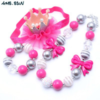 Wholesale silver toddler headband online - Beautiful Design Necklace Bracelet Headband Jewelry Set Pink Bow Toddlers Girls Bubblegum Baby Kids Chunky Necklace Jewelry Set