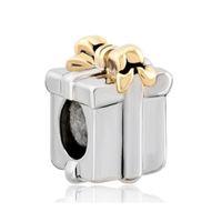 Wholesale pandora bead gift box - Fashion women jewelry European bowknot holiday gift box metal spacer bead lucky charms fits Pandora charm bracelet