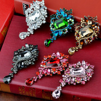 Wholesale Square Brooch - Mixed Color 3.5 inch Square Glass Crystal and Rhinestones Water Drop Large Brooch Wholesale