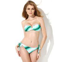Wholesale V Wire Bandeau - Green White Plaid Print V Wire Strapless Bandeau Bikini Set