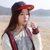 sombreros coreanos moda ala plana al por mayor-Venta al por mayor-más reciente Otoño / Otoño Coreano con estilo Melocotón corazones Patrón de póquer Gorra de béisbol Borde plano Street Dancer Fashion Hat envío gratis