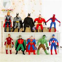 Wholesale Dolls Batman - 2015 The Avengers 2 dolls 40cm The Avengers 2 toy doll action figures plush toy Spider-Man Batman Superman dolls Gift 10pcs