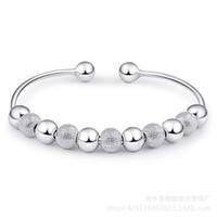 bracelets porte-bonheur chinois achat en gros de-925 bijoux en argent sterling bijoux petites perles polies charme bracelets bracelet chinois chanceux bénédiction ouverte design