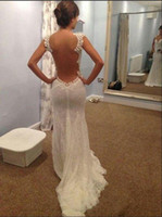 Wholesale Lace Wedding Dresses Open Back Strapless - Hot Sale Dress Mermaid Sheer Back Wedding Dresses Transparent Big Open Back Court Train Celebrity Dresses Bridal Gowns Elegant