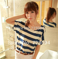 Wholesale Order Chiffon Blouse - Wholesale-Min.order is $10 (mix order)New Fashion Strips 2015 Women Ladies Chiffon Tops Blouse Summer Shirt Frock Blue Free Shipping CH026