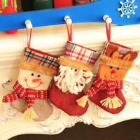 Wholesale bear christmas stocking - Christmas Stocking Gift Bags Xmas Ornament Decorations New Year Santa Claus Snowman Deer Bear Candy Decorative Socks Bags