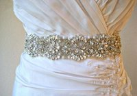 Wholesale Weddings Belt Sash - 2014 Hot Sales ! Crystal Pearl Luxury Bridal Sashes Wedding Dress Belts Rhinestones Pearl Satin Wedding Accessories Custom made