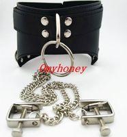 Wholesale Luxury Chastity Belts For Women - new luxury PVC bondage Female black collar with nipple clamps , nipple toys, sex toys for women, chastity devices belt, SM313B