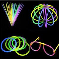 Wholesale Led Light Multi Color Sticks - Hot Glow Stick Bracelet Necklaces Neon Party LED Flashing Light Stick Wand Novelty Toy LED Vocal Concert LED Flash Sticks Multi Color