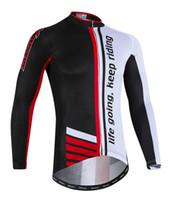 jersey rojo de manga larga al por mayor-2018 Men Team Pro Cycling Jersey Thermal Fleece manga larga ropa de ciclismo invierno cálido ropa exterior corriendo rojo