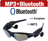 Wholesale Earphone Glasses - Smart Glasses Bluetooth V4.1 Sunglass 4 colors Sun Glass Sports Headset MP3 Player Bluetooth Phone Wireless Earphones Bluetooth Eyeglasses