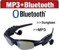 ingrosso auricolari sunglass-Smart Glasses Bluetooth V4.1 Occhiali da sole 4 colori Occhiali da sole Sport in vetro Lettore MP3 Telefono Bluetooth Auricolari wireless Occhiali Bluetooth